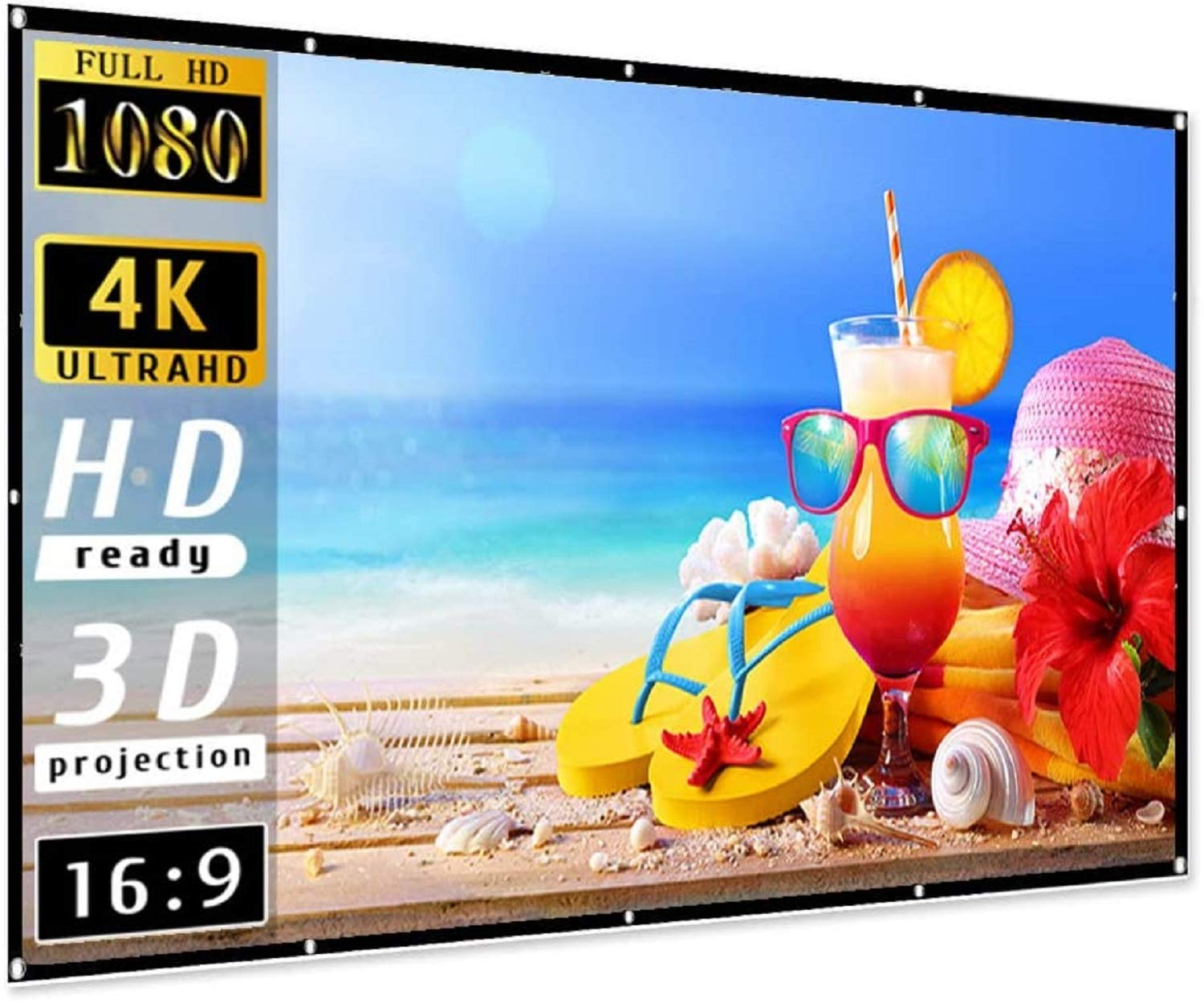 RANWAR 120 Inch Projector Screen 16:09 HD Foldable Anti-Crease Portable Projector Movies Screen for Home Theater